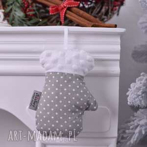 ozdoby świąteczne rękawica świąteczna szara, świąteczna, święta, wystrój