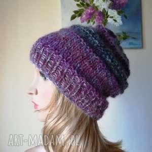 czapki fiolety w jedwabiu, rękodzieło, czapka, bezszwowa, zima, styl, prezent