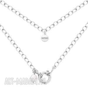 srebrny masywny naszyjnik z ozdobnym zapięciem z naturalną - perła