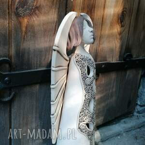 duży anioł ceramiczny, lampion - zlarin, stojący anioł