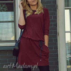 Sukienka damska burgund Legato Wine, sukienka, troczki, burgund, rękaw, wiązana