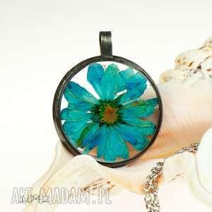 naszyjnik w stylu boho z niebieskim kwiatem z1042 - naszyjnik blondynka, niebieski
