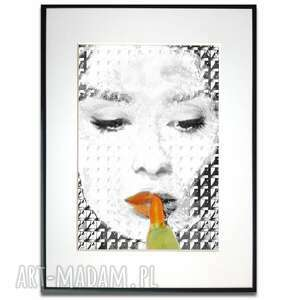 grafika w ramie z passe-partout orange black audrey 60x80, hepburn