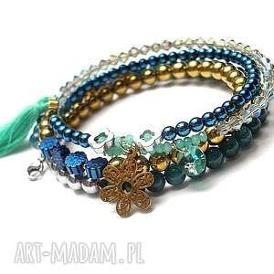 alloys collection wrapped /sea green/, zawieszki, stal, kamienie, boho