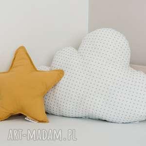 Zestaw 2 Poduch musztardowo-biały, poduszka-chmurka, poduszka-gwiazdka