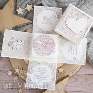 hand-made scrapbooking kartki eksplodujące pudełeczko z aniołkiem. Narodziny, chrzest