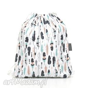 handmade dla dziecka plecak worek przedszkolaka pastelowe piórka