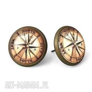 Busola - Kolczyki wkręty - ,busola,kompas,kolczyki,sztyfty,wkrętki,vintage,
