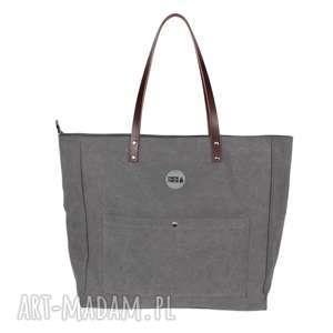 na ramię bardzo duża torba z kieszonkami szara, torba, pojemna, wytrzymała