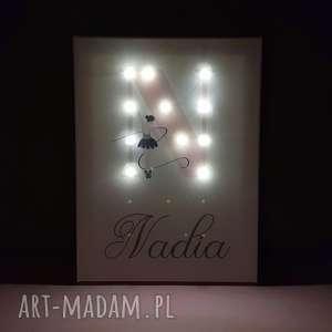 świecąca litera led z imieniem pastelowy obraz baletnica personalizowany prezent