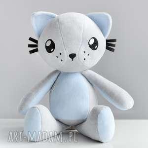 ręcznie wykonane maskotki kot przytulanka - poofy cat plushee szaro-błękitny