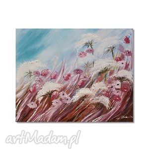 Łąka, polne kwiaty, obraz ręcznie malowany, obraz, łąka, polne, kwiaty