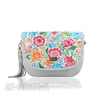 na ramię torebka puro view 2076 colored flowers 2, ręcznieszyta, wygodna, pojemna