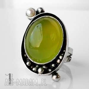 sunrise srebrny pierścionek z agatem brazylijskim - żółte