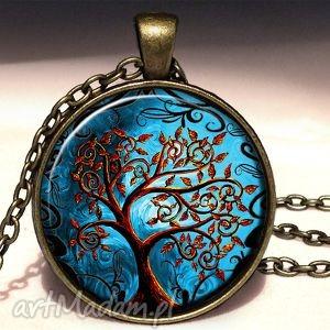 złociste drzewo - duży medalion z łańcuszkiem - złociste, drzewo