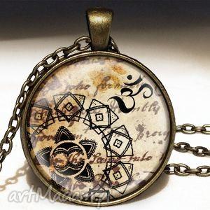 mantra - duży medalion z łańcuszkiem - orientalny, naszyjnik