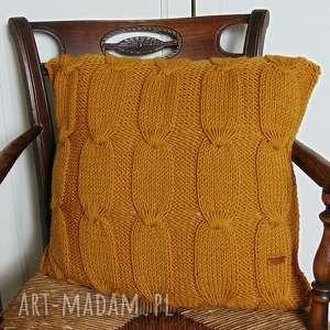 ręczne wykonanie poduszki duża poduszka w miodowym kolorze