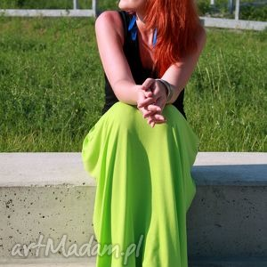 SPÓDNICA SUKIENKA 2 W 1 LETNIA MAXI DŁUGA LIMONKA, spódnica, sukienka, limonka, maxi