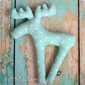 zabawka pan łosiek - pudrowa mięta, zabawka, maskotka, łoś, łosiek, renifer