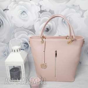 ręcznie wykonane torebki manzana kuferek złote dodatki hot pastelowy róż