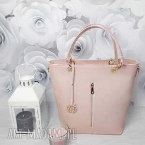 torebki manzana kuferek złote dodatki hot pastelowy róż, torebka, damska