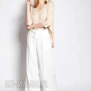 luźne spodnie - sd111 ecru, do pracy, szkoły, wysoki stan, eleganckie