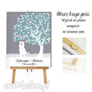 obraz ala księga gości - drzewo zakochanych 50x70, księga, gości, obraz, śłub