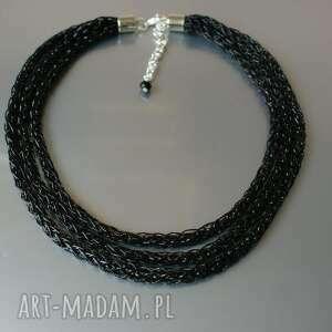 święta prezent, naszyjnik czarny, naszyjnik, sznurek, prosty, delikatny, potrójny