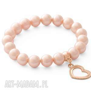 handmade bransoletki valentines day - salmon pearl with heart.