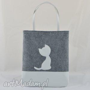 Duża szara torebka z filcu białym kotkiem ekoskóry - wielkość mieszcząca A4, filc