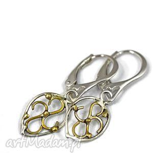 srebrne listki, kolczyki, wiszące, srebro, złocone