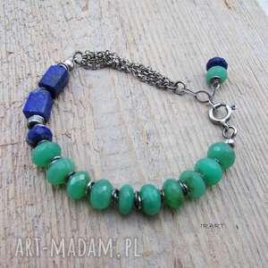 lapis lazuli z chryzoprazem - bransoletka, chryzopraz, srebro