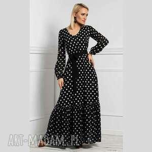 sukienki sukienka isa maxi donata grochy duże, maxi, długa, falbana