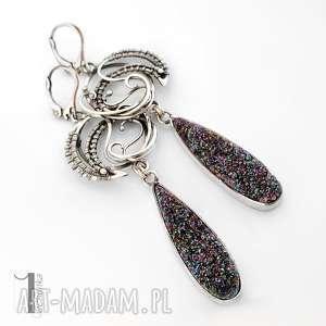 Flare srebrne kolczyki z druzą tytanową, kolczyki, srebrne, długie, wirewapping