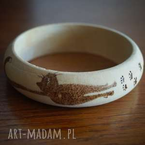 kocie wędrówki - wypalana ręcznie bransoletka - minimalizm