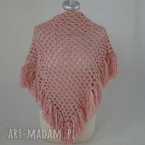 handmade chustki i apaszki różne kolory - ażurowa chusta z frędzlami