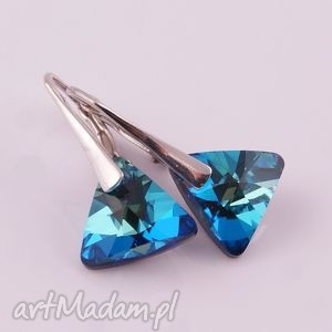 monle triangle kolczyki swarovski - błękitne, srebro
