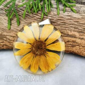 naszyjniki naszyjnik z żółtą margerytką z1029, żywica, naszyjnik, kwiaty, natura