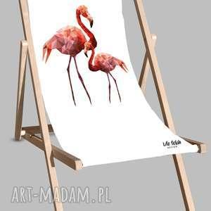 dom leżak biały z flamingami, leżak, plażowy, ogrodowy, flaming, flamingi