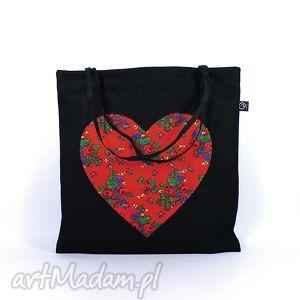 torba codzienna zakupówka 20, siatka, zakupy, serce, folk, torba, prezent