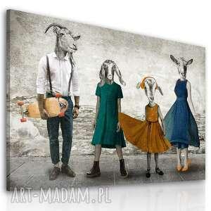 obraz drukowany na płótnie - kozłowscy z córką 120x80cm, obrazy kozami, grafika