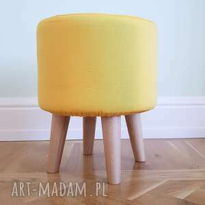 pufa żółty - 36 cm nogi naturalne stożkowe, pouf, puff, stołek, ryczka