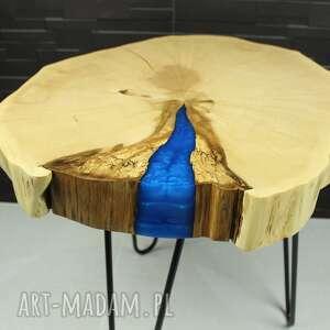 Stolik kawowy, plaster drewna - grab, żywica stoły sciete