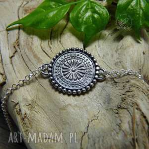 mandala - bransoleta, srebro, minimalistyczna, mandala, zen, boho, delikatna