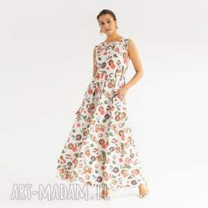 sukienki sukienka 24/ss/2021, luźna, letnia, długa, kieszenie, onesize, wzorki