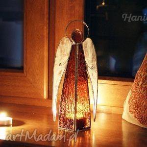anioł witrażowy michał, anioł, aniołek, lampion, świecznik, witraż, witrażowy