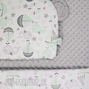 zestaw niemowlaka morze szary, kocyk, niemowlę, poduszka, łóżeczko