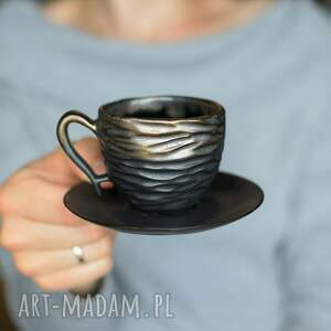 filiżanka espresso czerń i złoto 75ml, filiżanka, ceramika, ceramiczna