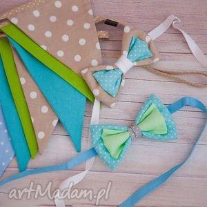 handmade dla dziecka zestaw girlanda i 2 muszki