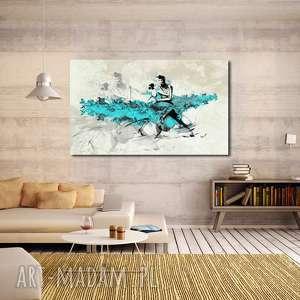obraz xxl tancerze turkusowi -120x70cm design na płótnie autorski wzór tango